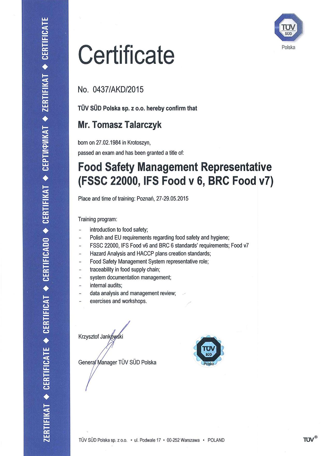 certificate safety elitefood representative management homepage